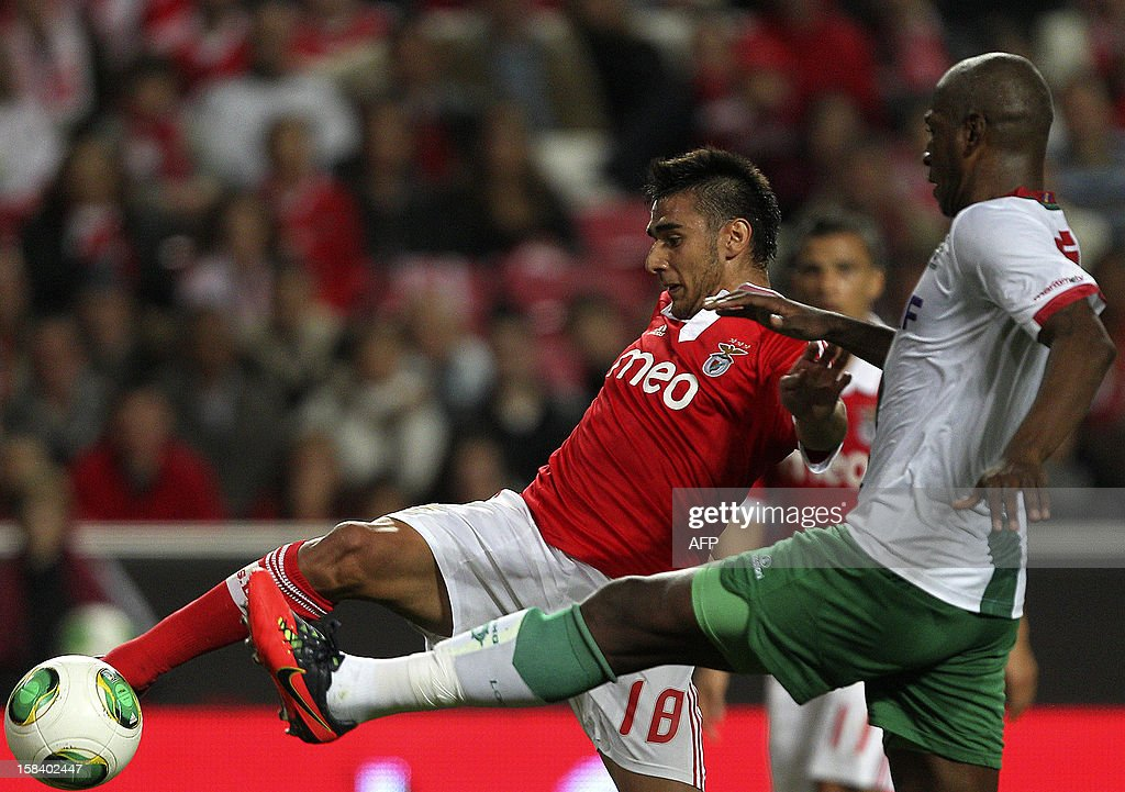 Benfica's Argentinian forward Eduardo Salvio (L) vies with Maritimo's defender Joao Guilherme during the Portuguese league football match Benfica vs Maritimo at the Luz Stadium in Lisbon on December 15, 2012.
