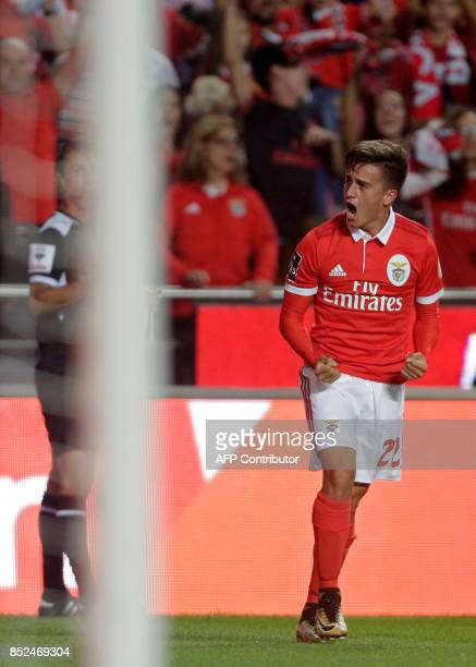 Benfica's Argentinian forward Franco Cervi celebrates after scoring during the Portuguese league football match SL Benfica vs FC Pacos de Ferreira at...