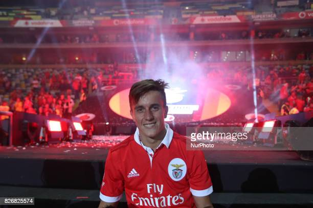 Benfica's Argentinian forward Franco Cervi celebrates the victory in the game during the Candido Oliveira Super Cup match between SL Benfica and...