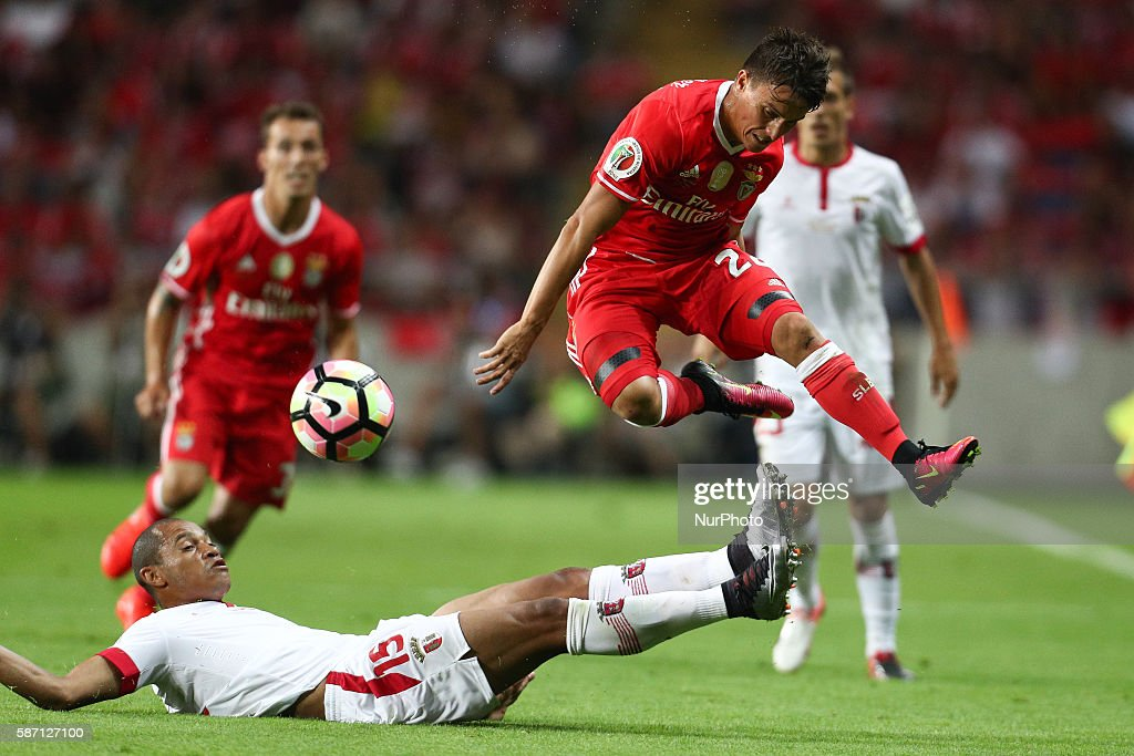 Benfica's Argentinian forward Franco Cervi in action with Braga's Brazilian defender Baiano during the Candido de Oliveira Super Cup match between SL...