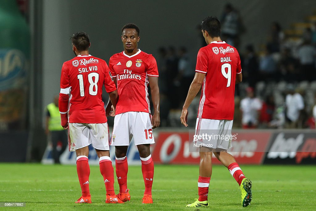 Benfica's Argentinian forward Toto Salvio Benfica's Peruvian forward Andre Carrillo and Benfica's Mexican forward Raul Jimenez during Premier League...