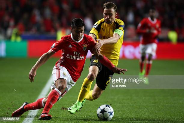 Benfica's Argentinian midfielder Eduardo Salvio vies with Dortmund's defender Sokratis Papastathopoulos during the Champions League football match...