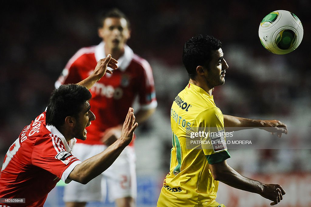 Benfica's Argentinian midfielder Eduardo Salvio (L) vies with Pacos de Ferreira's forward Nuno Santos (R) during the Portuguese League football match at the Luz Stadium in Lisbon on February 24, 2013.