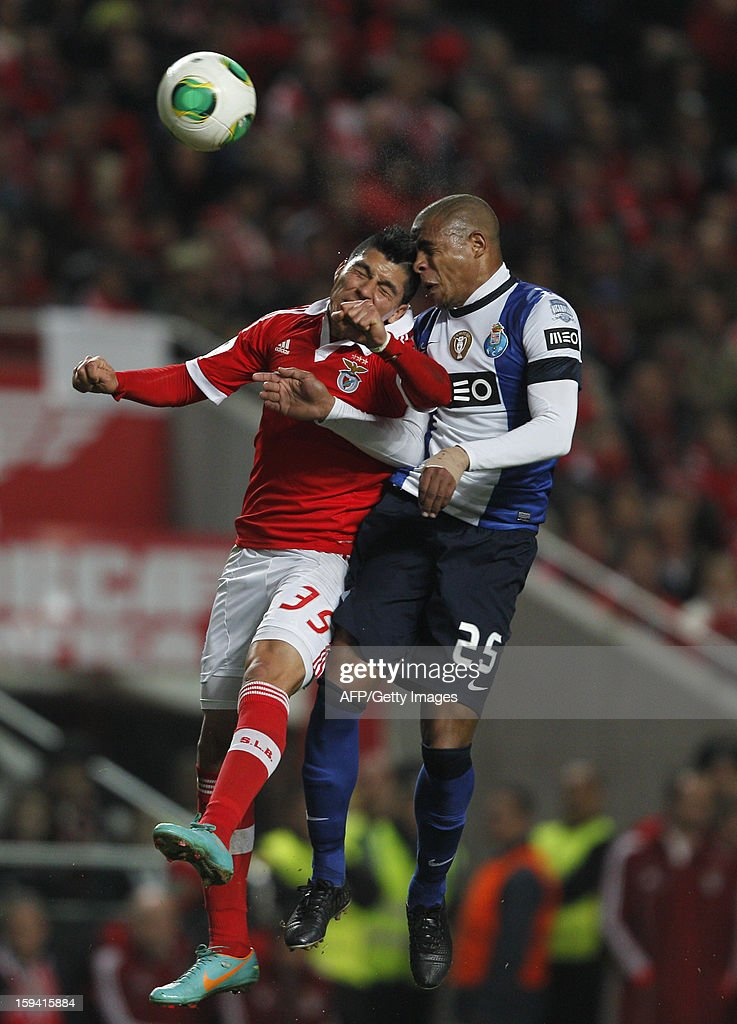Benfica's Argentinian midfielder Enzo Perez (L) and Porto's Brazilian midfielder Fernando jump for the ball during the Portuguese league football match SL Benfica vs FC Porto at Luz Stadium in Lisbon on January 13, 2013.