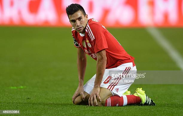 Benfica's Argentinian midfielder Nico Gaitan reacts during the Portuguese league football match FC Porto vs SL Benfica at the Dragao stadium in Porto...