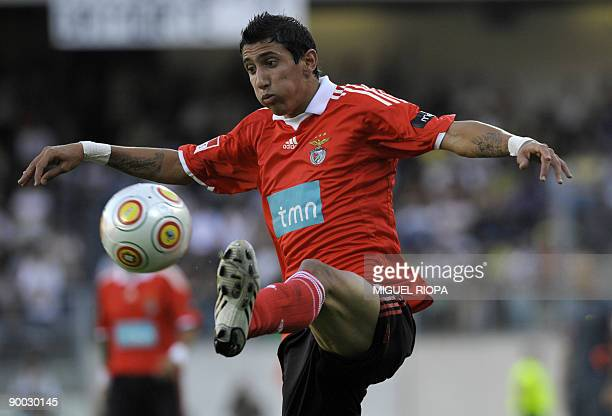 SL Benfica's Argentinian player Angel Di Maria controls the ball during their Portuguese Super league football match against Vitoria SC at the Afonso...