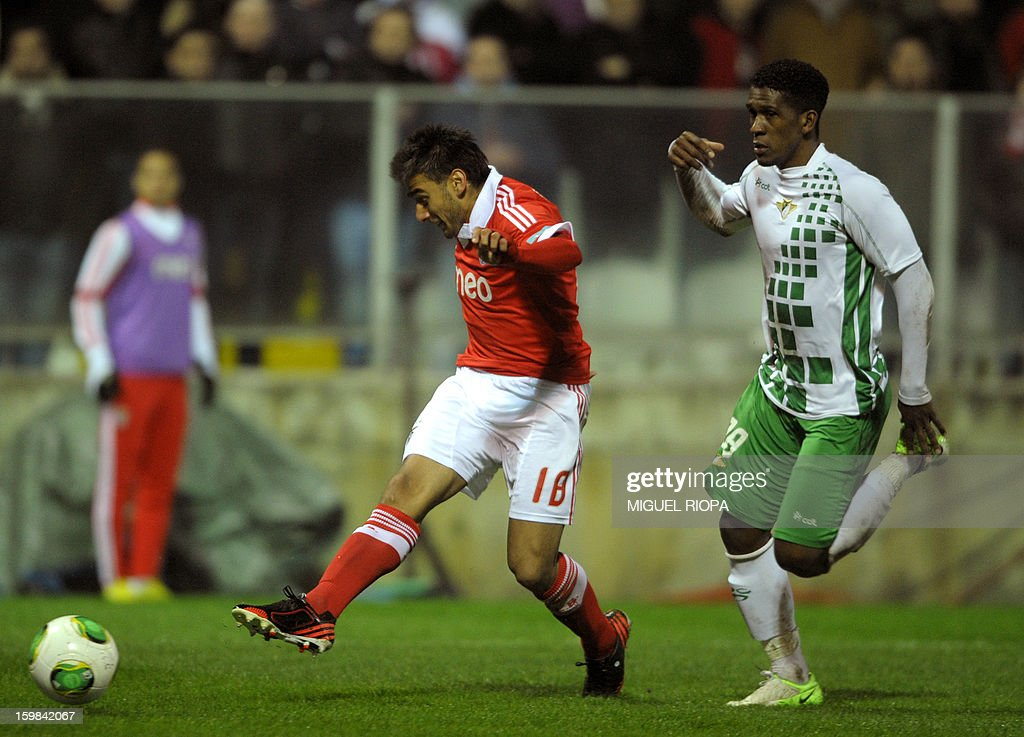 Benfica's Argtentinian forward Eduardo Salvio (L) kicks the ball next to Moreirense's Brazilian midfielder Julio Cesar to score a goal during the Portuguese league football match Moreirense vs Benfica at the Comendador Joaquim de Almeida Freitas Stadium in Moreira de Conegos, on January 21, 2013.