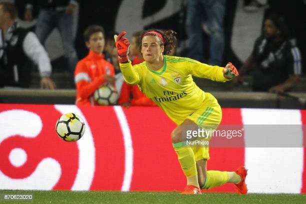 Benfica's Belgian goalkeeper M Svilar during the Premier League 2017/18 match between Vitoria SC and SL Benfica at Dao Afonso Henriques Stadium in...