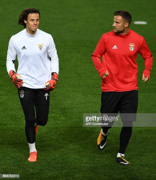 Benfica's Belgian goalkeeper Mile Svilar attends a team training session at Old Trafford in Manchester northwest England on October 30 on the eve of...