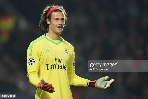 Benfica's Belgian goalkeeper Mile Svilar gestures during the UEFA Champions League Group A football match between Manchester United and Benfica at...