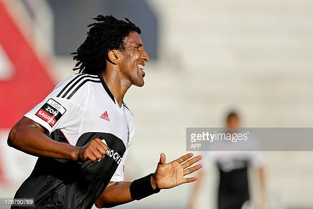 Benfica's Brazilian defender Bruno Cortes Barbosa reacts after missing an opportunity to score during the Portuguese League football match Maritimo...