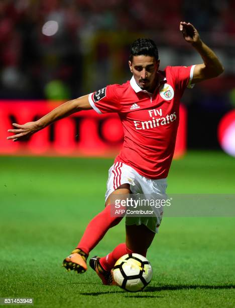 Benfica's Brazilian defender Jardel controls the ball during the Portuguese league football match between GD Chaves and SL Benfica at the Municipal...