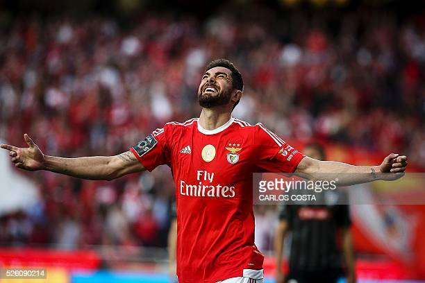 Benfica's Brazilian defender Jardel Vieira celebrates after scoring a goal during the Portuguese league football match SL Benfica vs Vitoria Sport...