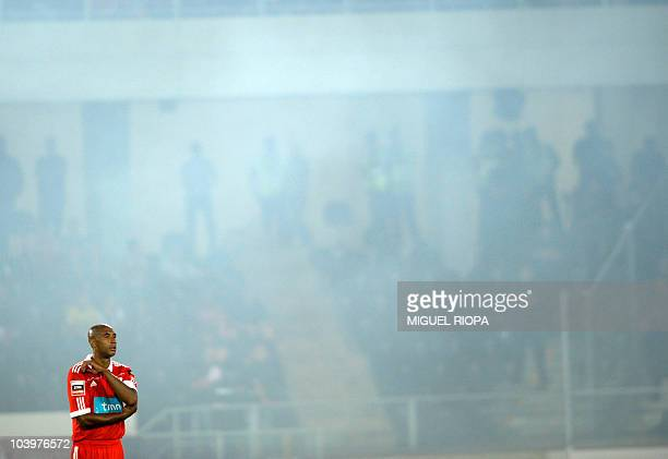 Benfica's Brazilian defense Anderson Silva 'Luisao' reacts during their Portuguese league football match against Vitoria SC at the Afonso Henriques...