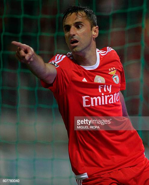 Benfica's Brazilian forward Jonas celebrates after scoring a goal during the Portuguese league football match Moreirense FC vs SL Benfica at the...