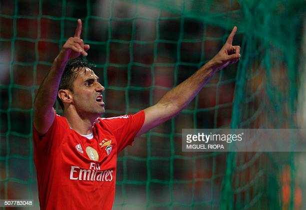 Benfica's Brazilian forward Jonas celebrates after scoring a goal during the Portuguese league football match Moreirense FC vs SL Benfica at the...