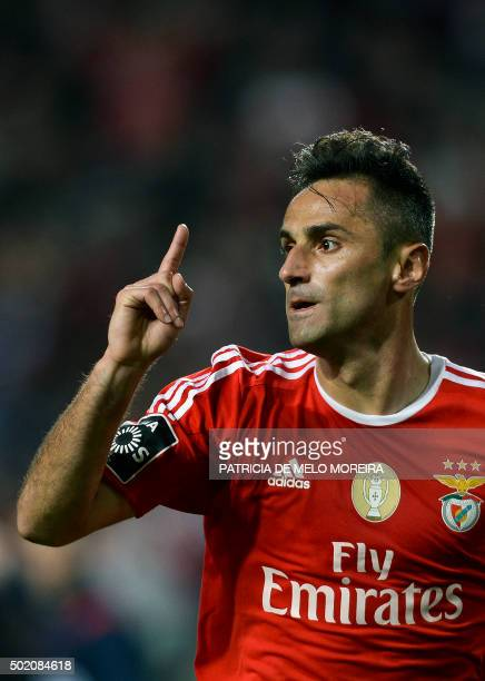 Benfica's Brazilian forward Jonas Oliveira celebrates a goal during the Portuguese league football match Benfica vs Rio Ave at Luz stadium in Lisbon...