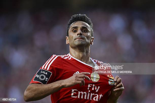 Benfica's Brazilian forward Jonas Oliveira celebrates after scoring a goal during the Portuguese league football match SL Benfica vs FC Pacos de...