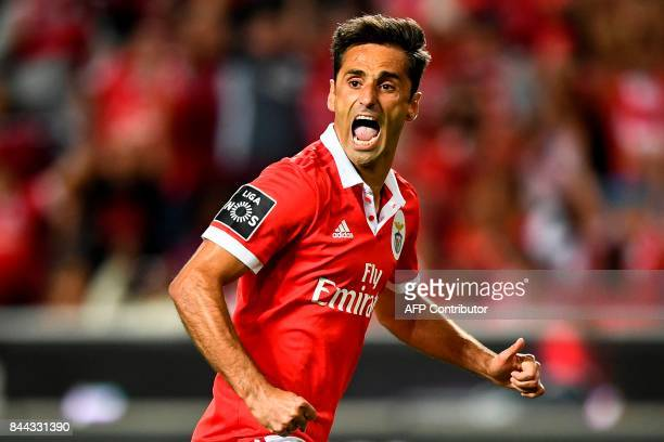 Benfica's Brazilian forward Jonas Oliveira celebrates after scoring on a penalty kick during the Portuguese league football match SL Benfica vs...