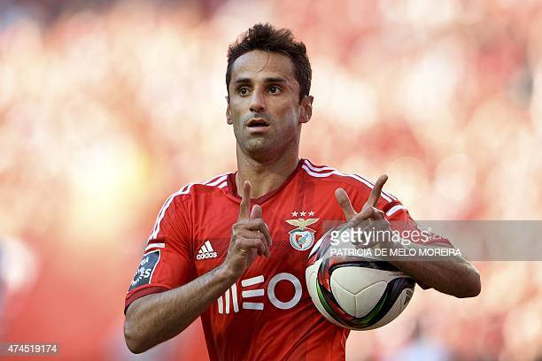 Benfica's Brazilian forward Jonas Oliveira celebrates after scoring during the Portuguese league football match SL Benfica vs CS Maritimo at the Luz...