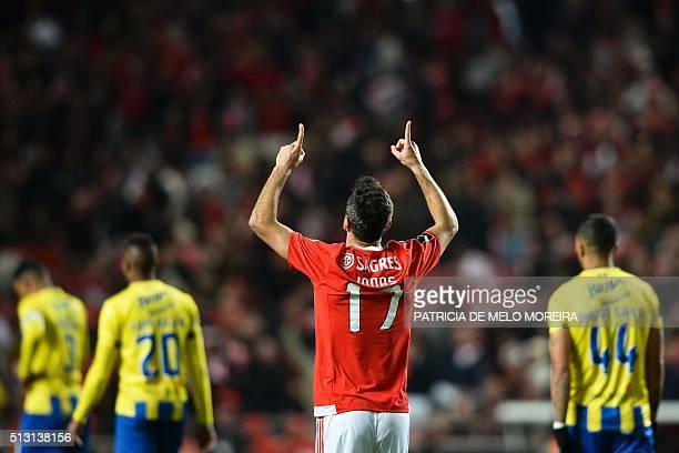 Benfica's Brazilian forward Jonas Oliveira celebrates after scoring during the Portuguese league football match SL Benfica vs Uniao Madeira at the...