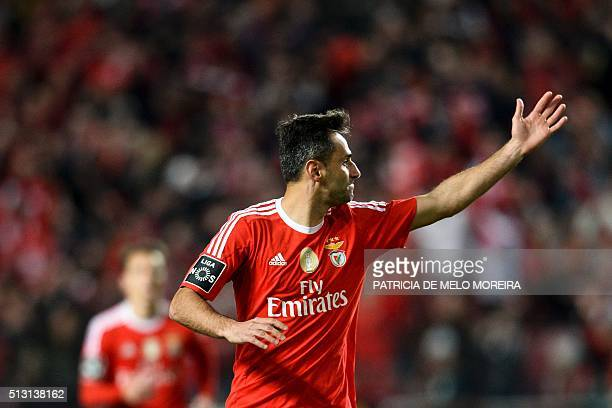 Benfica's Brazilian forward Jonas Oliveira celebrates after scoring during the Portuguese league football match SL Benfica vs Uniao Madeira at the...