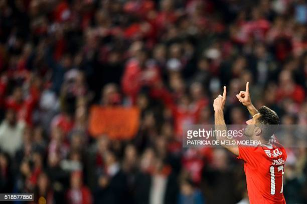 Benfica's Brazilian forward Jonas Oliveira celebrates after scoring against SC Braga during the Portuguese Liga football match Benfica vs SC Braga at...