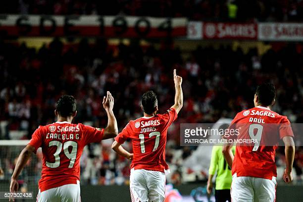 Benfica's Brazilian forward Jonas Oliveira celebrates after scoring during the Portuguese League Cup semifinal football match SL Benfica vs SC Braga...