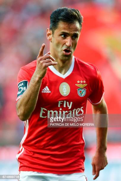 Benfica's Brazilian forward Jonas Oliveira celebrates after scoring during the Portuguese league football match SL Benfica vs Estoril at the Luz...