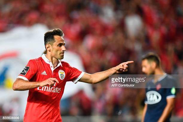 Benfica's Brazilian forward Jonas Oliveira celebrates after scoring during the Portuguese League football match SL Benfica vs Os Belenenses at Luz...