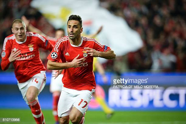 Benfica's Brazilian forward Jonas Oliveira celebrates after scroting during the UEFA Champions League round of 16 football match SL Benfica vs FC...