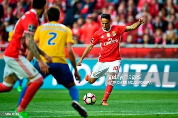 Benfica's Brazilian forward Jonas Oliveira kicks the ball to score during the Portuguese league football match SL Benfica vs Estoril at the Luz...