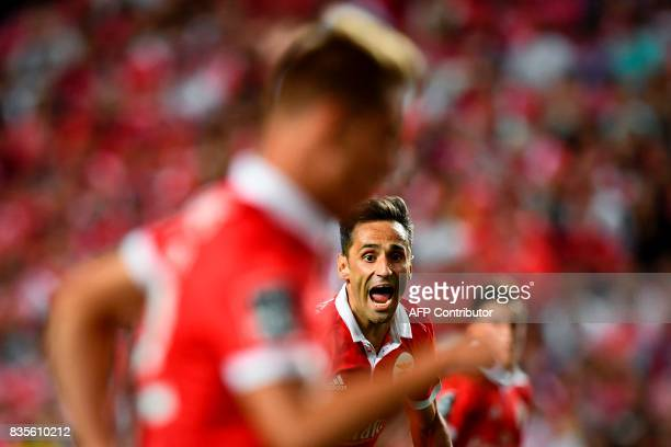 Benfica's Brazilian forward Jonas Oliveira shouts during the Portuguese League football match SL Benfica vs Os Belenenses at Luz stadium on August 19...