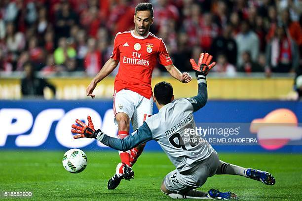 Benfica's Brazilian forward Jonas Oliveira vies with Braga's Brazilian goalkeeper Matheus Magalhaes during the Portuguese Liga football match Benfica...
