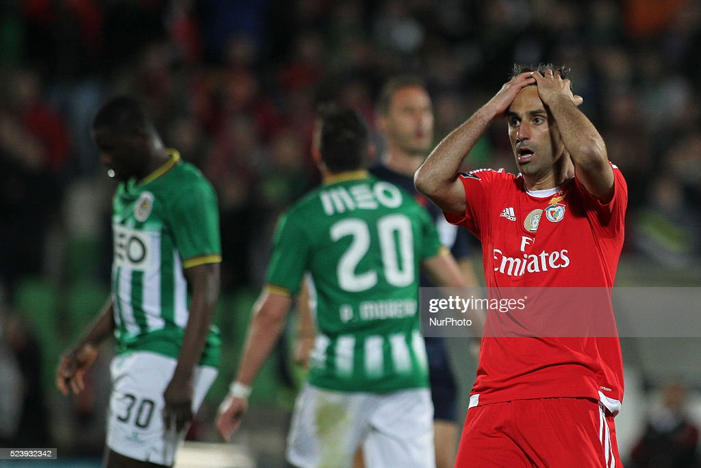Benfica's Brazilian forward <a gi-track='captionPersonalityLinkClicked' href=/galleries/search?phrase=Jonas+-+Brazilian+Forward&family=editorial&specificpeople=10555097 ng-click='$event.stopPropagation()'>Jonas</a> reactions during the Premier League 2015/16 match between Rio Ave FC and SL Benfica, at Rio Ave Stadium in Vila do Conde on April 24, 2016 in Lisbon, Portugal.