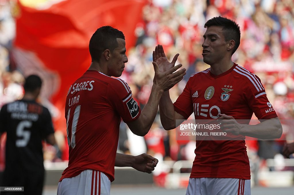 Benfica's Brazilian forward Rodrigo <a gi-track='captionPersonalityLinkClicked' href=/galleries/search?phrase=Lima+-+Brazilian+Soccer+Player&family=editorial&specificpeople=9680210 ng-click='$event.stopPropagation()'>Lima</a> dos Santos (L) celebrates his goal with Argentinean midfielder Nico Gaitan during the Portuguese league football match SL Benfica vs A Academica at the Luz stadium in Lisbon on April 11, 2015.