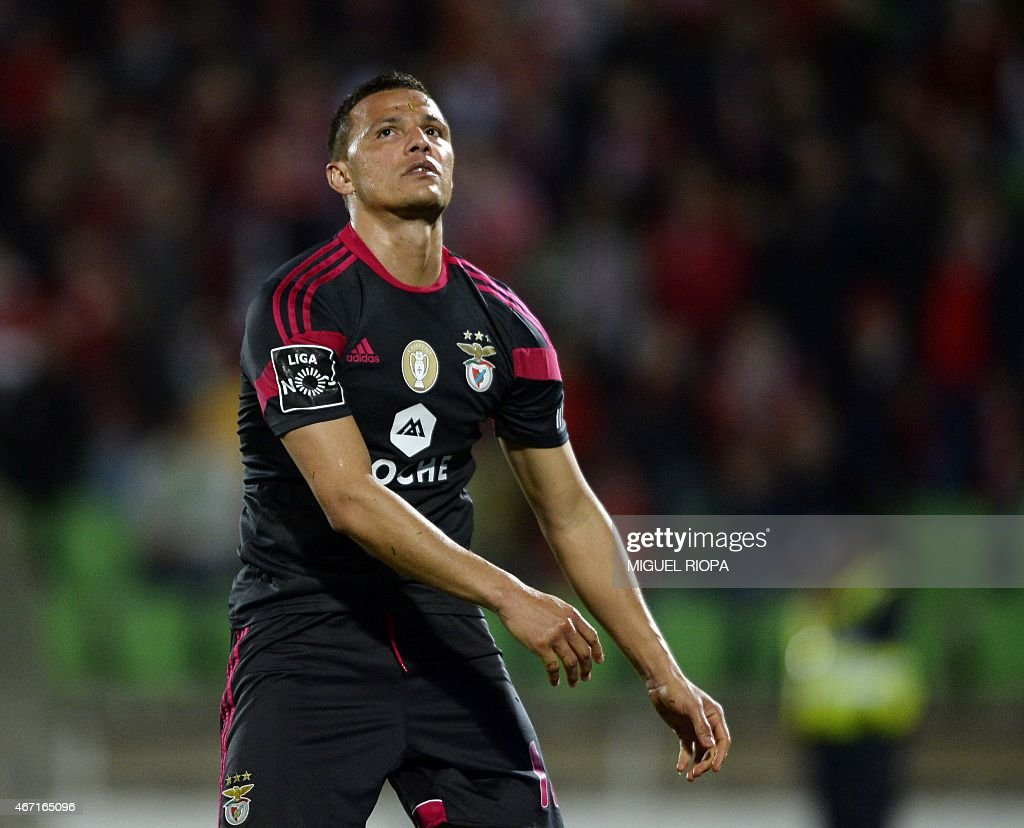 Benfica's Brazilian forward Rodrigo <a gi-track='captionPersonalityLinkClicked' href=/galleries/search?phrase=Lima+-+Brazilian+Soccer+Player&family=editorial&specificpeople=9680210 ng-click='$event.stopPropagation()'>Lima</a> reacts after loosing a chance to score a goal during the Portuguese league football match Rio Ave FC v SL Benfica at the Rio Ave FC stadium in Vila do Conde on March 21, 2015. Rio Ave won the match 2-1. AFP PHOTO / MIGUEL RIOPA