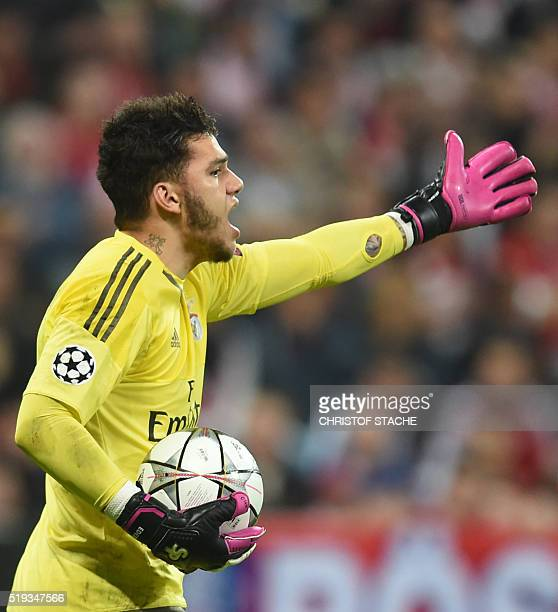 Benfica's Brazilian goalkeeper Ederson gestures during the Champions League quarterfinal firstleg football match between Bayern Munich and SL Benfica...