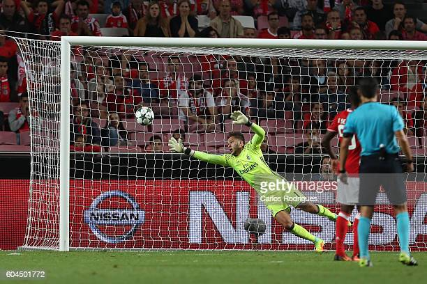 Benfica's Brazilian goalkeeper Ederson Moraes during the UEFA Champions League Match between SL Benfica vs Besiktas JK at Estadio da Luz on September...