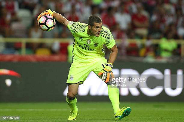 Benfica's Brazilian goalkeeper Ederson Moraes in action during the Candido de Oliveira Super Cup match between SL Benfica and SC Braga in Municipal...
