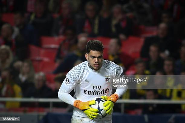 Benfica's Brazilian goalkeeper Ederson Moraes in action during the Champions League football match between SL Benfica and Borussia Dortmund at Luz...