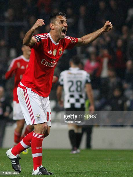 Benfica's brazilian player Jonas celebrates his goal against Boavista during their Portuguese League first division championship at Bessa Stadium in...
