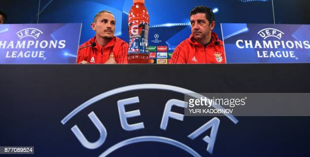 Benfica's coach from Portugal Rui Vitoria and Benfica's midfielder from Serbia Ljubomir Fejsa attend a press conference in Moscow on November 21 2017...