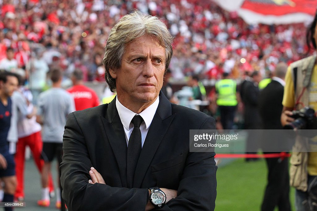 Benfica's coach <a gi-track='captionPersonalityLinkClicked' href=/galleries/search?phrase=Jorge+Jesus&family=editorial&specificpeople=686973 ng-click='$event.stopPropagation()'>Jorge Jesus</a> at Estadio da Luz on August 31, 2014 in Lisbon, Portugal. (Photo by Carlos Rodrigues/Getty Images).