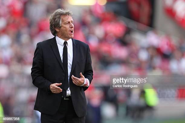 Benfica's coach Jorge Jesus during the Primeira Liga Portugal match between Benfica and Academica at Estadio da Luz on April 12 2015 in Lisbon...