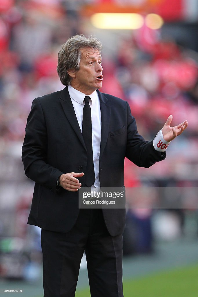 Benfica's coach Jorge Jesus during the Primeira Liga Portugal match between Benfica and Academica at Estadio da Luz on April 12, 2015 in Lisbon, Portugal.