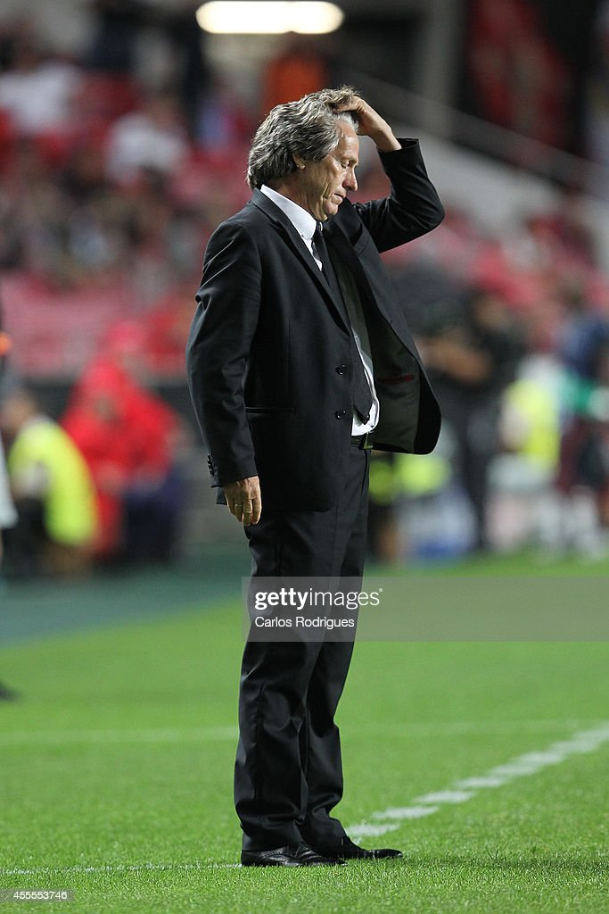 Benfica's coach <a gi-track='captionPersonalityLinkClicked' href=/galleries/search?phrase=Jorge+Jesus&family=editorial&specificpeople=686973 ng-click='$event.stopPropagation()'>Jorge Jesus</a> reacts during the Champions League match between Benfica and Zenit on September 16, 2014 in Lisbon, Portugal.