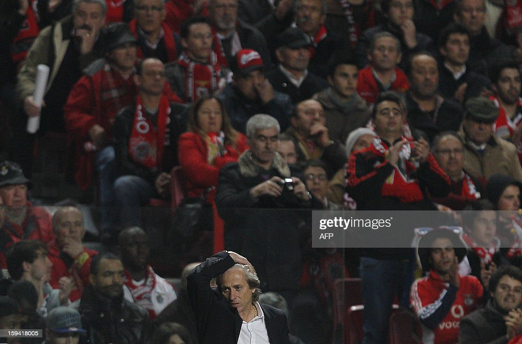 SL Benfica´s coach Jorge Jesus reacts during the Portuguese league football match SL Benfica vs FC Porto at Luz Stadium in Lisbon on January 13, 2013.
