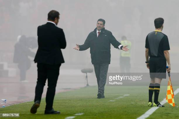 Benfica's coach Rui Vitoria reacts and looks to Vitoria SC's coach Pedro Martins during the Portugal Cup football final match between SL Benfica vs...