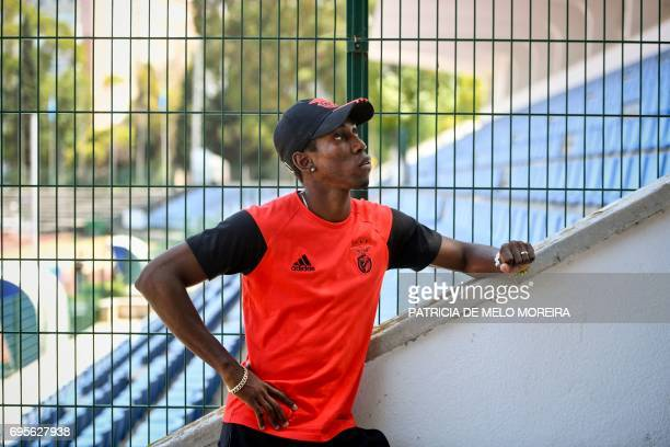 Benfica's Cuban triple jumper Pedro Pichardo looks on during a press conference to announce his return to competition at the '1st of May' stadium in...